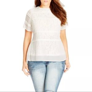 City Chic Pintuck Lace Layer Top Ivory
